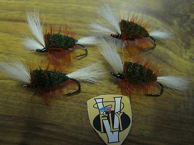4 V Fly Size 6 Ultimate RV Secret Russian Bomber Salmon Flies