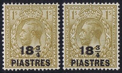 British Levant 1921 18 3/4 Pi on 1/- Raised 3 Variety Fine Mint SG 47