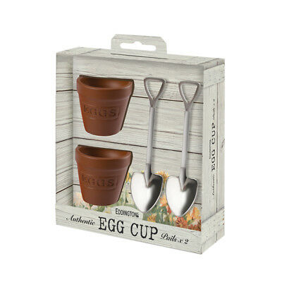 Eddingtons Flower Pot Egg Cups and Spoons Set of 2 Spade Gardeners Gift Novelty