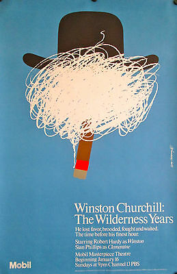 "Winston Churchill:the Wilderness Years Original Pbs Poster 46"" X 30"" Mint"