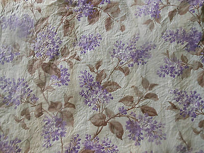 Antique French Lilac Floral Chintz Cotton Fabric ~ lavender pale mossy brown