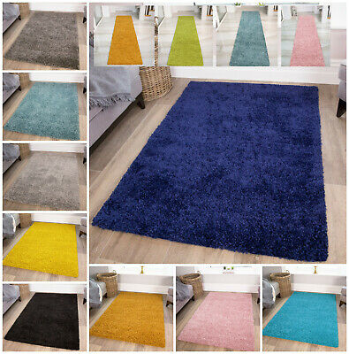 Super Soft Thick Fluffy Shaggy Rugs Small Large Non Shed Bedroom Shaggy Mats UK