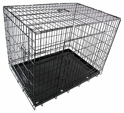 RayGar Dog Cage Crates Puppy Pet Carrier Training Folding Metal Cage With Tray