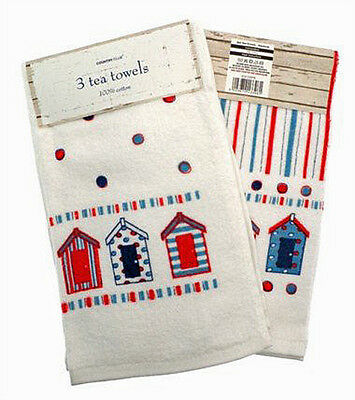 Country Club Tea Towels Set of 3 Nautical Design Velour Kitchen Drying Cloth