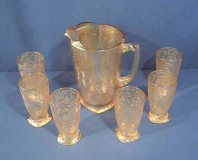 Vtg Jeanette Louisa Iridescent Carnival Glass Depression Pitcher + 6 Tumbler Set