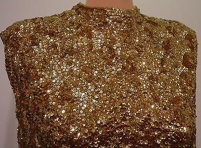 Vtg 60s Gold Sequin Encrusted Hand Beaded Lambswool Sweater 40 Hong Kong