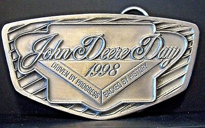 John Deere Day 1998 Dealer Pewter Belt Buckle Progress & History jd collectible