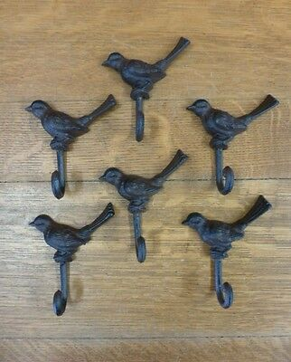 "GROUP 6 BROWN BIRD WALL HOOKS 5"" ANTIQUE-STYLE RUSTIC CAST IRON COAT KEY garden"