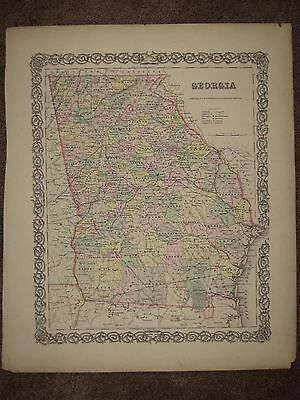 1855 GEORGIA Pre CIVIL WAR ANTIQUE MAP COLTON Geography Atlas ORIGINAL!