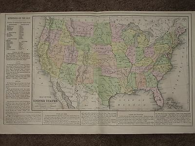 1867 UNITED STATES ANTIQUE MAP Warren Atlas CIVIL WAR Era HAND COLORED ORIGINAL
