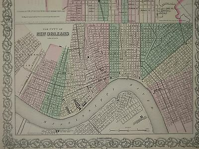 1868 NEW ORLEANS LOUISIANA CIVIL WAR ERA ANTIQUE MAP COLTON Atlas ORIGINAL!
