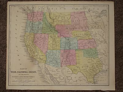 1867 WESTERN UNITED STATES CALIFORNIA ANTIQUE MAP Warren Atlas CIVIL WAR Era