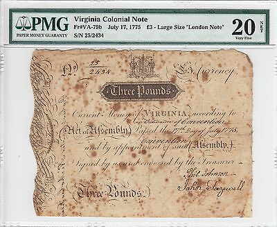 "July 17, 1775 Virginia Colonial £3 Large Size ""London Note"" PMG VF 20 Net VA-79b"