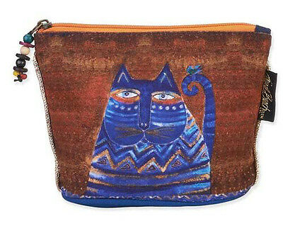 New LAUREL BURCH Cosmetic Bag BLUE BROWN CAT Kitten Art JEWELRY CASE Pouch