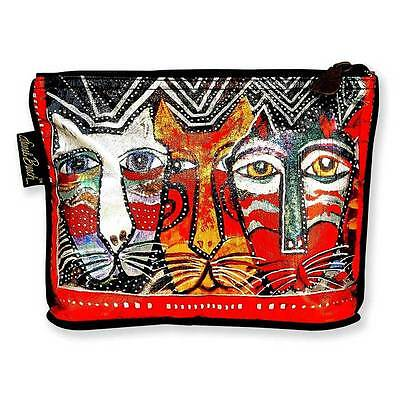 New LAUREL BURCH Foiled Cosmetic Bag CAT Kitten Folk Art JEWELRY CASE Pouch 10""