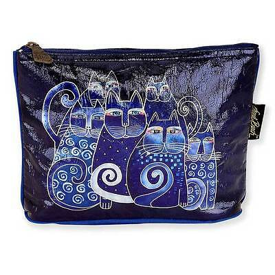 New LAUREL BURCH Foiled Cosmetic Bag BLUE CAT Kitten Folk Art JEWELRY CASE Pouch