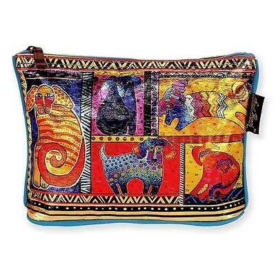 LAUREL BURCH Foiled Cosmetic Bag YELLOW RED CAT Kitten Art JEWELRY CASE Pouch