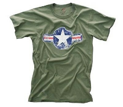 US 11th AIRBORNE STAR VINTAGE Army AIRFORCE SHIRT TShirt OD GREEN L Large