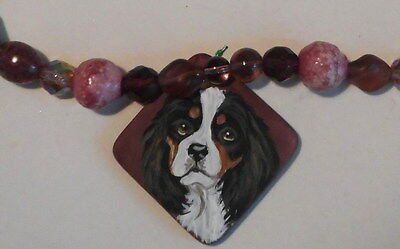 Cavalier King Charles Spaniel Dog Beaded Necklace Hand Painted Ceramic Pendant