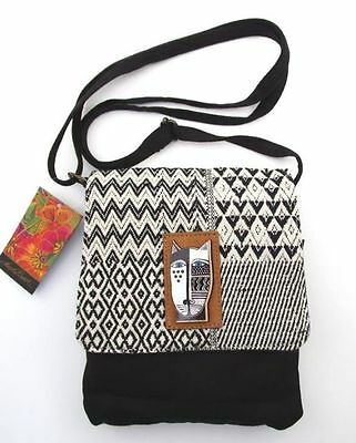 New LAUREL BURCH Flap Over Crossbody Bag BLACK WHITE CAT Woven Purse Handbag