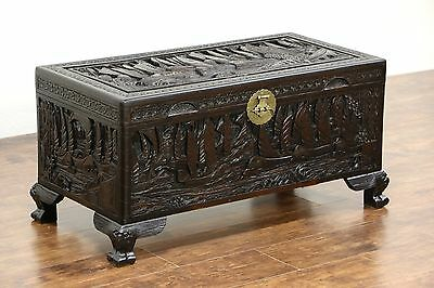 Chinese Camphor Wood Trunk, Dowry Chest or Coffee Table, Carved Ship Motif