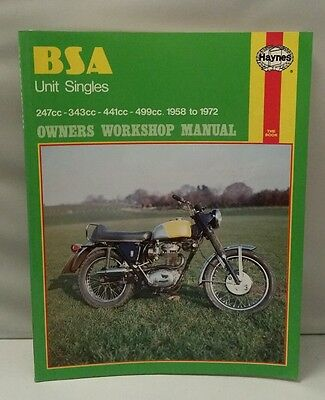 BSA UNIT SINGLES OWNERS WORKSHOP MANUAL 247cc 343cc 441cc 499cc 1958-1972      ☆