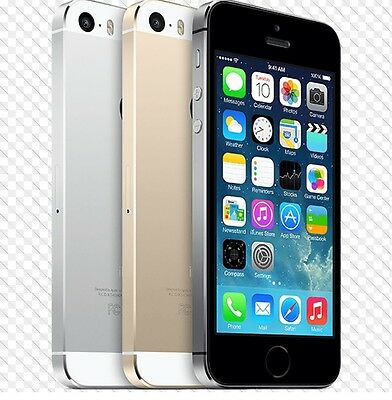 """*Apple iPhone 5S- 16 32 64GB GSM """"AT&T ONLY"""" Smartphone Gold Gray Silver Phone c"""