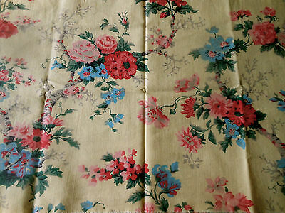 Antique Vintage French Tree of Life Floral Cotton Fabric #1~ Pink Blue on Yellow