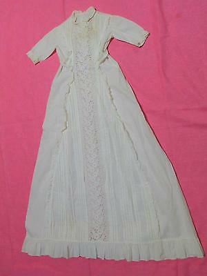 Victorian White Ruffled Cotton Eyelet Lace X Long Baby Christening Gown Dress