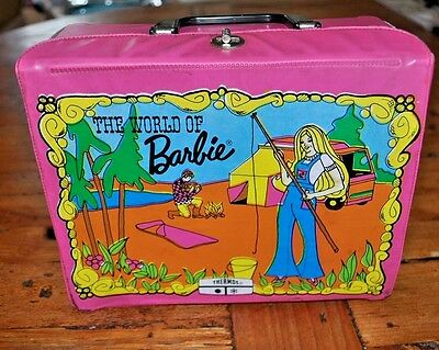 Vintage 1972 The World Of Barbie Doll Vinyl Pink Lunchbox And Thermos