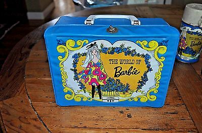 Vintage 1971 The World Of Barbie Vinyl Lunchbox + 3 Thermos (Psychedelic)