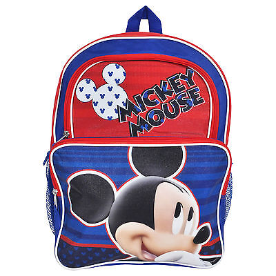"""Disney Mickey Mouse Boys Large Backpack 16"""" Red Blue"""