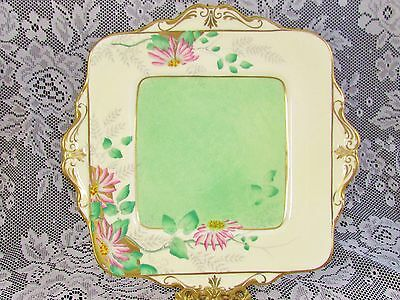 Paragon Lime Green Speckled Hp Pink Floral Cake Serving Plate