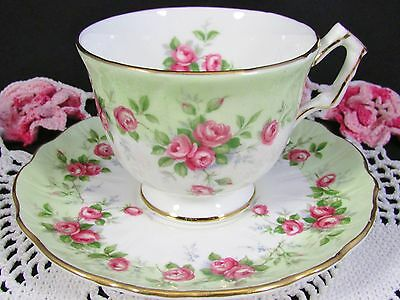 Aynsley Trailing Pink Roses Green Crocus Shape Tea Cup And Saucer