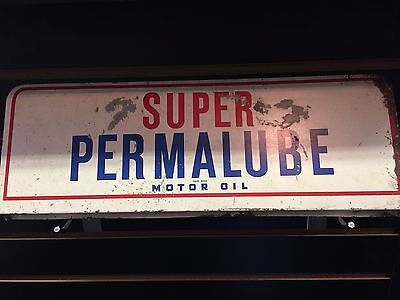 """Vintage 1940's Amoco Permalube Motor Oil Gas Station 15"""" Metal Sign Lubester"""