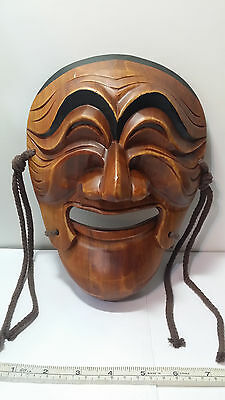 Vintage Japanese Noh Dance Theater Wooden MASK. Hand Carved Wood Articulated Jaw