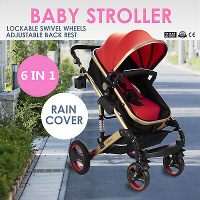 3In1 Baby Stroller Foldable Pram Pushchair With Bassinet Lockable Multi-Angle
