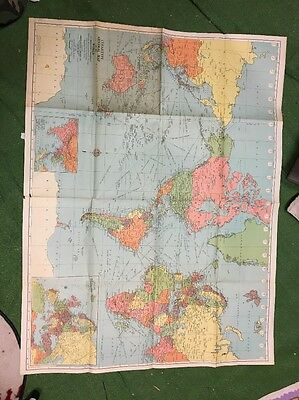 Vintage American Map Co world wall map colorprint series no. 9455-B cleartype