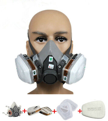 US Half Face Dust Gas Mask Respirator Paint Spraying Facepiece For 3M 6200 N95