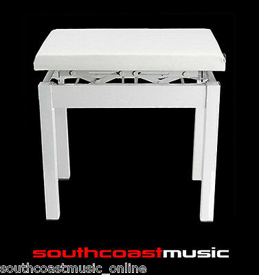 White Piano & Keyboard Bench - Height Adjustable Stool Casio Pbwe New