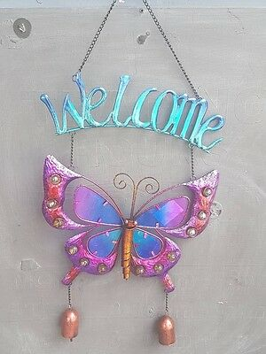 Welcome Butterfly Wind Chime Bell Stained Glass Home Garden Outdoor Living Decor