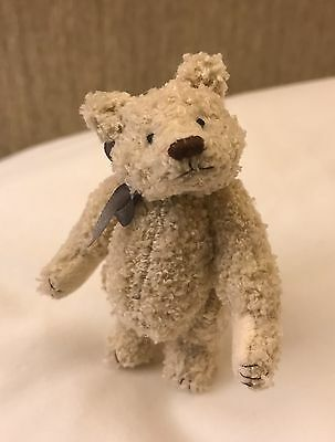 Miniature Hand Sewn 3 In. Cream Terry Cloth Teddy Bear by L. Wright