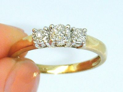 9CT Gold 9K Gold 0.15CT Diamond Cluster ring size N