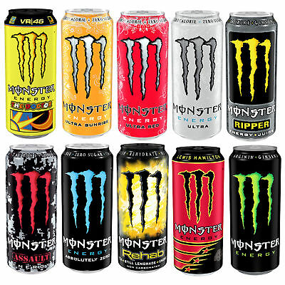 12x 500ml Cans of Monster Energy Drink Refreshing Stimulating Energizing Thirst