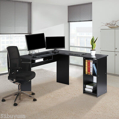 Large L-Shaped Computer Desk with Mute Sliding Keyboard Tray with 2-Bookshelf UK