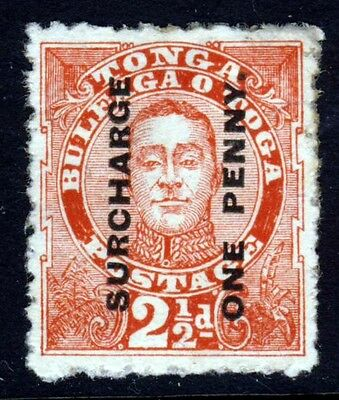 TONGA 1895 King George II  ONE PENNY Surcharged 2½d. Vermilion  SG 30 MINT