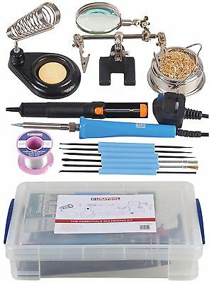 THE 'ESSENTIALS' SOLDERING KIT  with Mains Soldering Iron Duratool  40w  + Box