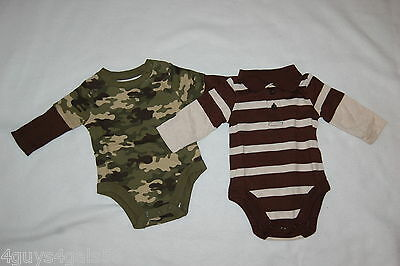 Baby Boys 2 LOT L/S SHIRT Layered Look GREEN CAMO Brown Beige Stripe Polo 0-3 MO