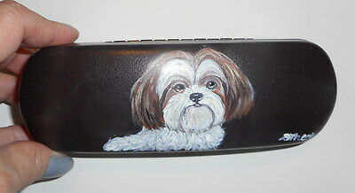 Shih Tzu white and tan Dog Hand Painted Eyeglass case faux Leather