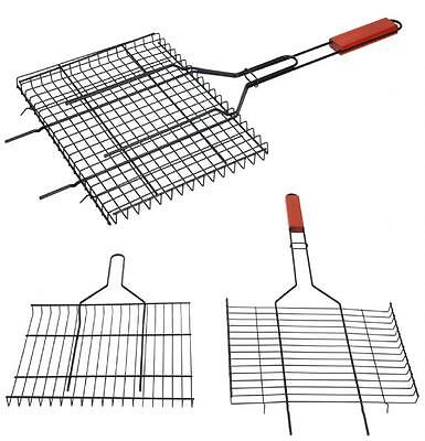 Non Stick Bbq Barbecue Meat Burger Fish Holder Pan Grill Rack Basket Long Handle